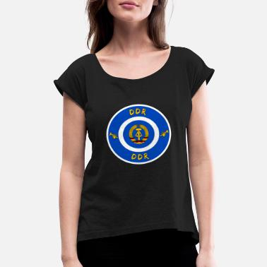 Ostalgie GDR DDR circle with coat of arms gift East Germany - Women's Rolled Sleeve T-Shirt