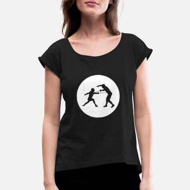 Sword Two guys in a circle 01 - Women's Rolled Sleeve T-Shirt