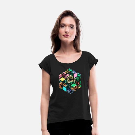 Hipster T-Shirts - Hipster Flower Octagon - Women's Rolled Sleeve T-Shirt black