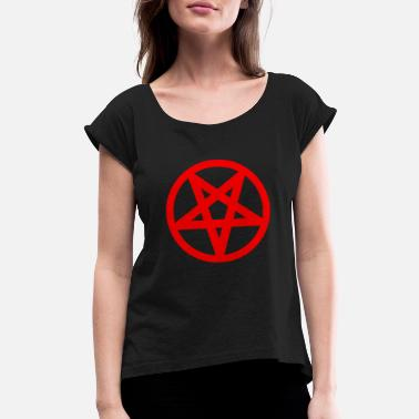 Death Satan Satanism - Women's Roll Cuff T-Shirt