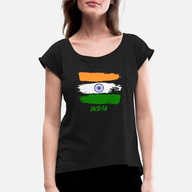 Indian Flag india design - Women's Rolled Sleeve T-Shirt