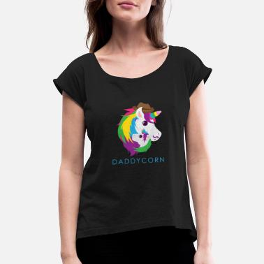 Brother Unicorn Daddycorn Unicorn Dad Funny Gift Idea - Women's Rolled Sleeve T-Shirt
