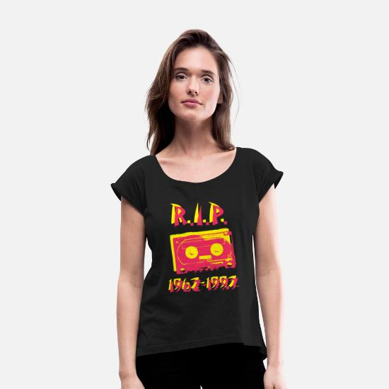 Tape T-Shirts - Cassette - RIP Cassette Tapes - Women's Rolled Sleeve T-Shirt black