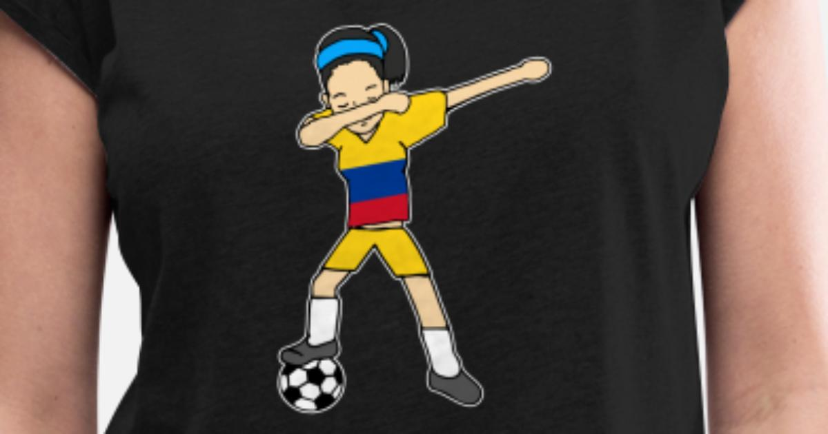 504ad587d Dabbing Soccer Football Player Colombia Dab Shirt Women s Rolled Sleeve T- Shirt