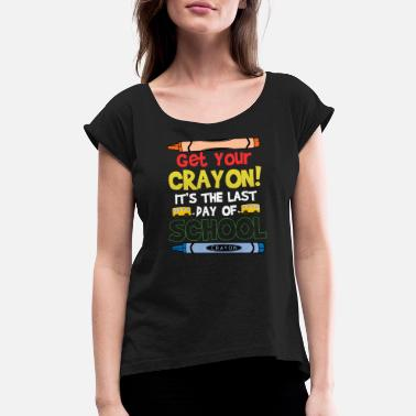 Crayon Kids Crayon Day School Vacation Gift Funny Cool - Women's Rolled Sleeve T-Shirt