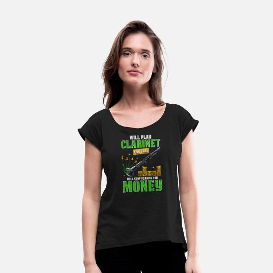 Clarinet T-Shirts - Funny Clarinet Player Design - Women's Rolled Sleeve T-Shirt black