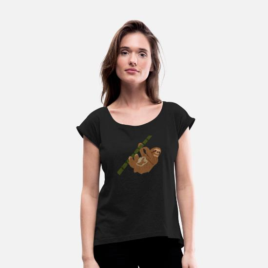 Funny T-Shirts - Funny Sloth Pregnancy Baby - Women's Rolled Sleeve T-Shirt black
