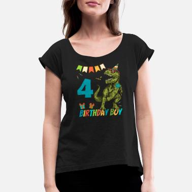 Childrens Birthday Party 4 Year Olds Childrens Birthday Boy Party - Women's Rolled Sleeve T-Shirt