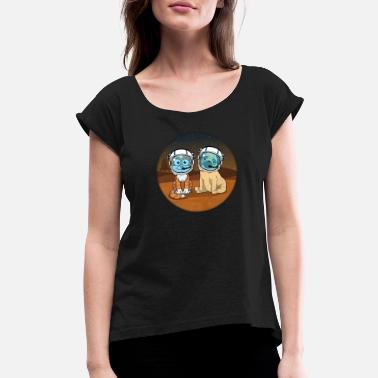 Space Pug Space Cat And Space Pug - Women's Rolled Sleeve T-Shirt