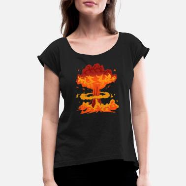 Missile Nuke Nuking Bombing Fire Bombshell Missile Gift - Women's Rolled Sleeve T-Shirt