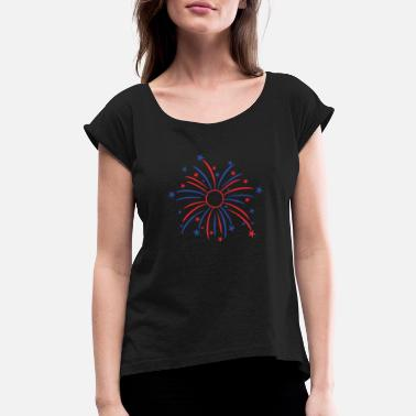 Political Parties Happy 4th of July - Women's Rolled Sleeve T-Shirt