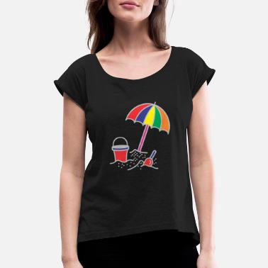 Beach Umbrella Beach Umbrella In Sand - Women's Rolled Sleeve T-Shirt