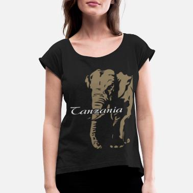 Tanzania Tanzania - Elephant - Women's Rolled Sleeve T-Shirt