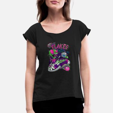 Flake Invader Flakes - Women's Rolled Sleeve T-Shirt