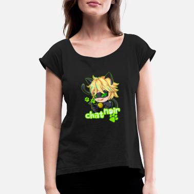 Chat Chat Noir - Women's Rolled Sleeve T-Shirt