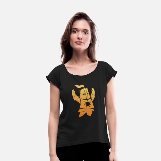 Game T-Shirts - sword - Women's Rolled Sleeve T-Shirt black