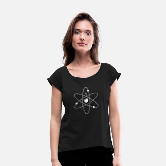 Pop Art T-Shirts - New Design Atom Bomb Best Selletr - Women's Rolled Sleeve T-Shirt black