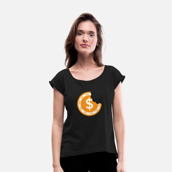 Bank T-Shirts - Bitcoin - Coin bite money cryptocurrency trader - Women's Rolled Sleeve T-Shirt black