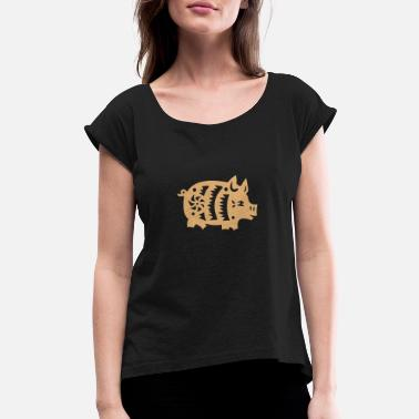 China pig - Women's Rolled Sleeve T-Shirt