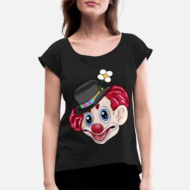 Carneval happy carneval clown - Women's Rolled Sleeve T-Shirt