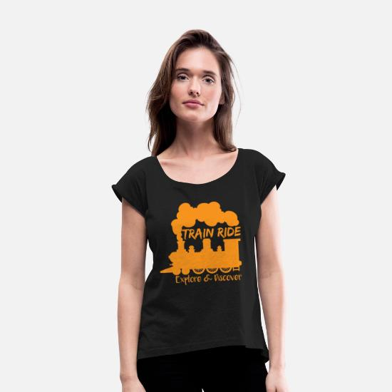 Train Driver T-Shirts - Train Railroad Explore Steam Locomotive Gift - Women's Rolled Sleeve T-Shirt black