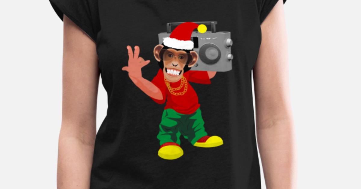 Christmas Rap Music.Funny Christmas Monkey Rap Music Women S Rolled Sleeve T Shirt Spreadshirt
