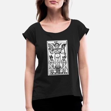 Cards The Devil Tarot Card - Women's Rolled Sleeve T-Shirt