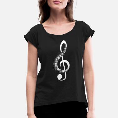 Key Piano Keys | Notes | Music | G-Clef - Women's Rolled Sleeve T-Shirt
