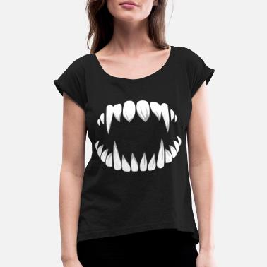 Folklore Halloween Vampire Teeth Costume - Women's Rolled Sleeve T-Shirt
