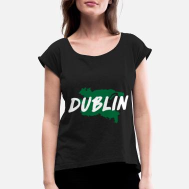 Cathedral Dublin Flag Ireland Map Irish Good - Women's Rolled Sleeve T-Shirt