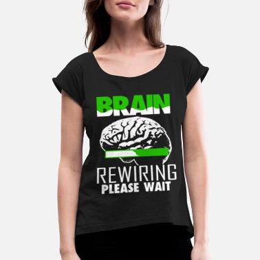 Brain Brain Injury Awareness TBI Green Support Recovery - Women's Rolled Sleeve T-Shirt