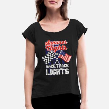 0f01b8d8 Moto Dad Racing Summer Nights Race Track Lights Flags Gift - Women's.  Women's Rolled Sleeve T-Shirt