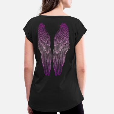 Angelwings Long Pink Wings - Women's Rolled Sleeve T-Shirt