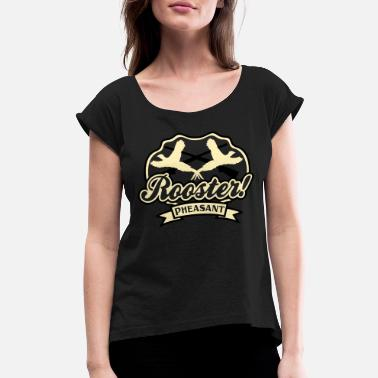 Pheasant rooster_pheasant - Women's Rolled Sleeve T-Shirt