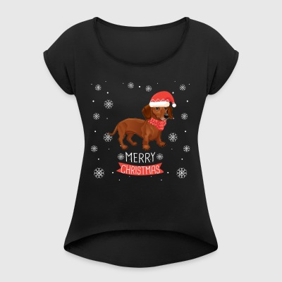 Best Christmas Day Ever With My Dachshund - Women's Roll Cuff T-Shirt