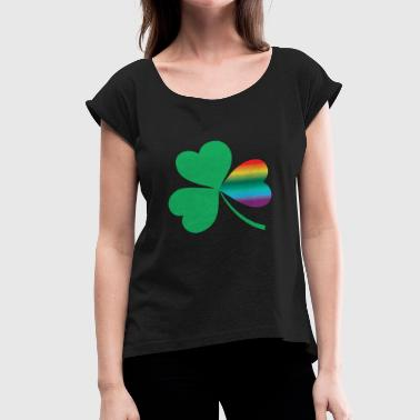 IRISH RAINBOW CELTIC LOVE - Women's Roll Cuff T-Shirt