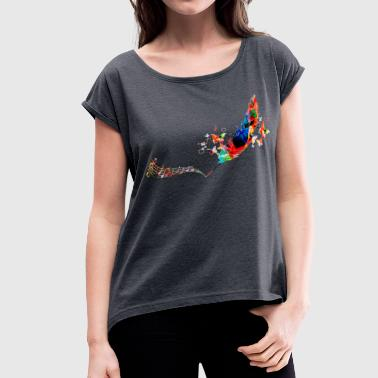 Colorful Feather - Women's Roll Cuff T-Shirt