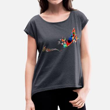 Multi Colorful Feather - Women's Roll Cuff T-Shirt
