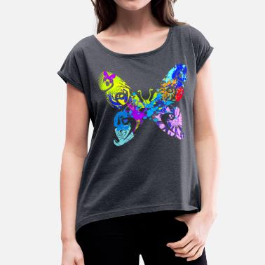 Unique Butterfly butterfly - Women's Roll Cuff T-Shirt