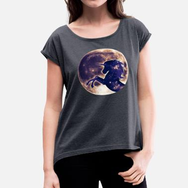 Cosmic Unicorn Unicorn full moon, galaxy, space, cosmic, horse - Women's Roll Cuff T-Shirt