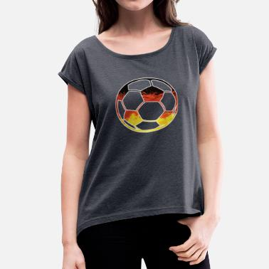 Germania GERMANY SOCCER BALL Germania Balls Flag Worldcup - Women's Roll Cuff T-Shirt