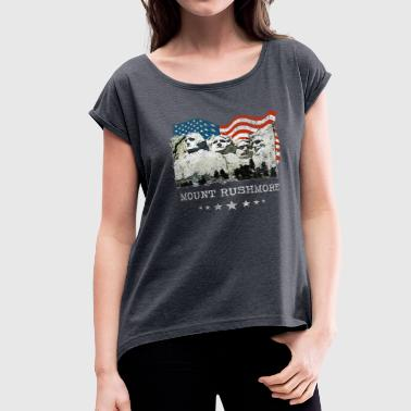 Rushmore Mount Rushmore Mt. Portraits USA Souvenir Gifts - Women's Roll Cuff T-Shirt