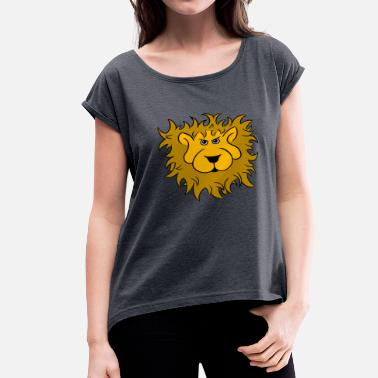 Lions Head Lion head of the lion - Women's Roll Cuff T-Shirt