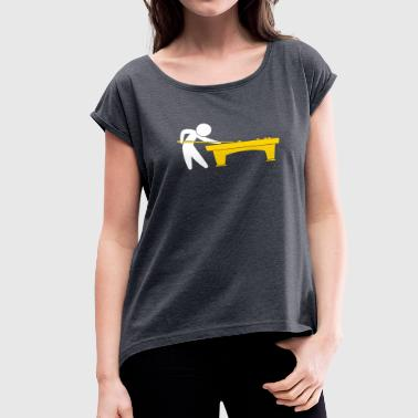 Push Ball A Pool Player Is On The Pool Table - Women's Roll Cuff T-Shirt