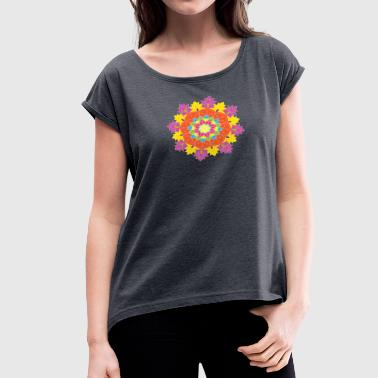 Colored mandala on the white background.Vector - Women's Roll Cuff T-Shirt