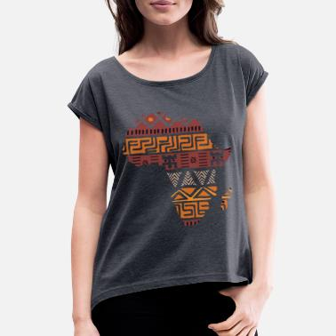 Continent Africa Map Art Country Gift Idea T-Shirt - Women's Rolled Sleeve T-Shirt