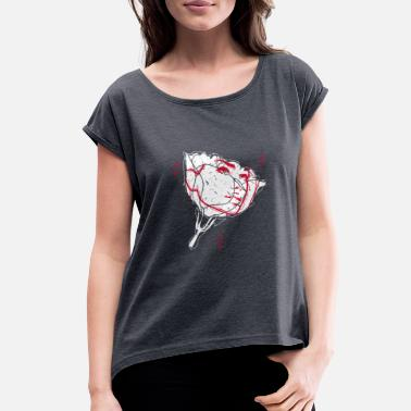 Idea Cute Rose Beauty Flower Petals Gift Present idea - Women's Rolled Sleeve T-Shirt
