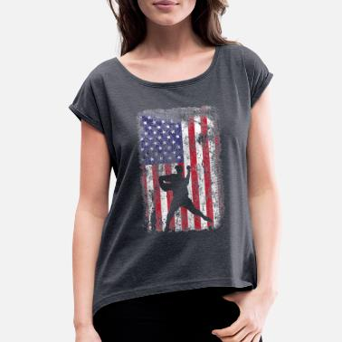 Baseball Pitcher 4th of July Patriotic American U - Women's Rolled Sleeve T-Shirt