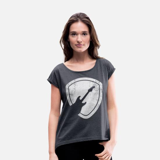Guitar T-Shirts - Guitar Pick - Women's Rolled Sleeve T-Shirt navy heather