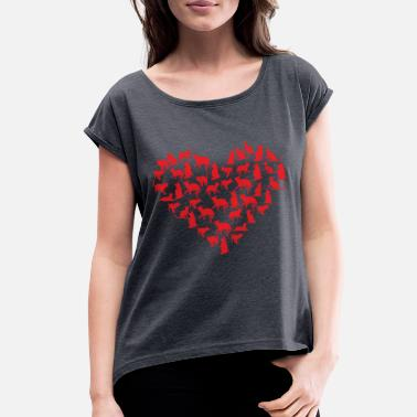 Marriage Heart Cats Great cats and Valentine's Day gift with heart - Women's Roll Cuff T-Shirt